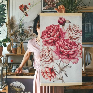 peonies - board on canvas